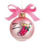 "2.75"" Personalizable Girl's 1st Christmas Ornament"