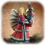 "18"" Folk Heart Angel Figurine with Peace Tree"