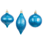 "5.5"" Blue Finial Ornaments - set of 3"