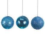 "Blue Ball Ornaments 4""  - set of 6"