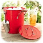 "8.25"" Red Galvanized Ice Bucket & Scoop"