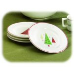 "7.75"" Christmas Tree Luncheon Plates - Set of 4"