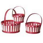"9.5"" Red & White Snowflake Baskets - set of 3"