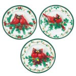Decorative Cardinal Christmas Plates - Set of 3