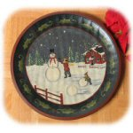 "12"" Painted Snowman Plate"