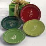 "6.75"" Holiday Sketch Appetizer Plates - set of"
