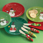 "Whimsical Snowman Appetizer Plates 8"" - set of 4"