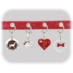 "16.75"" Pet Lovers Small Red Glitter Dog Collar"