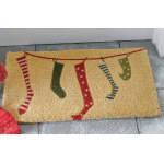 "Whimsy Stockings Coir Doormat - 18"" x 30"""
