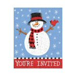 Lodge Snowman Party Invitations - pkg. of 8