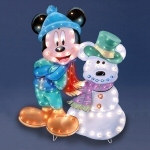 Lighted Mickey Mouse & Snowman Display - 36""