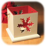 "5.5"" White and Red Wooden Luminary"