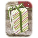 "15"" Striped Christmas Present Luminary"
