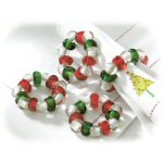 Red Green and Clear Beaded Napkin Rings - Set of 4