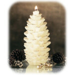 "4.5"" White Pinecone Candle with Glitter"