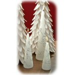"8"" Sculpted White & Silver Cone Candle - Set of 2"