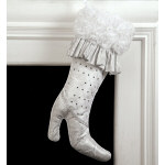 Ruffled Silver High Heel Stocking - 22""