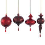 "Radiant Red Finial Ornaments - 6"" - set of 4"
