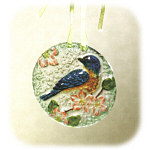 "4"" Winter Conservatory Blue Bird Glass Ornament"
