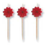 "3"" Poinsettia Party Pick Candles - Set of 10"