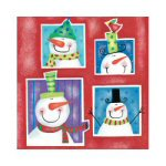 Snowman Squares Lunch Napkins - Package of 20