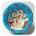 "7.5"" Ceramic Holiday Cat Bowl"