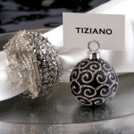 "Black Ornament Place Card Holders 1.5"" - set of 16"