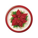 Bright Poinsettia Dessert Plates - pkg. of 10