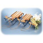 Country Sleds With Blue Runners - Set of 3