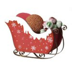 "14.5"" Red & White Wooden Snowflake Sleigh"