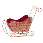 Red Metal Christmas Sleigh - 17""