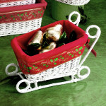 Red & White Basket Sleigh - 12""