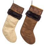 "Cream & Brown Christmas Stockings - 20""- set of 2"