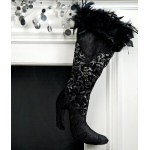Black & Silver High Heel Stocking - 22""