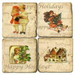 """Happy Holidays"" Marble Coasters - Set of 4"