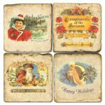 Holiday Greetings Marble Drink Coaster - Set of 4