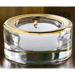 "1.25"" Gold Rim Glass Tea Light Holder"