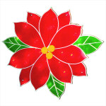 Poinsettia Window Decoration - 17""