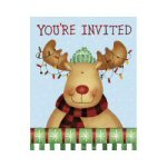 Country Moose Party Invitations - Set of 8