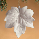 "3"" Currant Leaf Porcelain Maple Leaf Ornament"