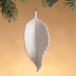 "4"" Currant Leaf Porcelain Birch Leaf Ornament"