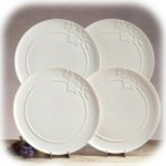 "10.5"" Currant Leaf White Dinner Plates - Set of 4"