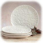 "8"" Currant Leaf White Salad Plate - Set of 4"