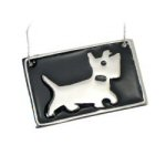 "3"" x 2"" Personalized Brass Black Dog Ornament"