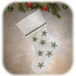 "15.5"" Simply Felt White Stocking with Holly"