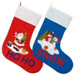 "36"" Santa & Snowman Appliqué Stockings - set of 2"