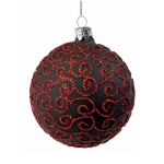 Black & Red Glitter Ornament - 3.15""