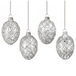 "Clear Silver Glitter Egg Ornaments 3"" - set of 4"