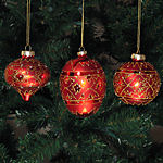 Red & Gold Christmas Ornaments - set of 3