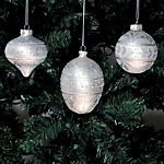 Silver Glitter Christmas Ornaments - set of 3